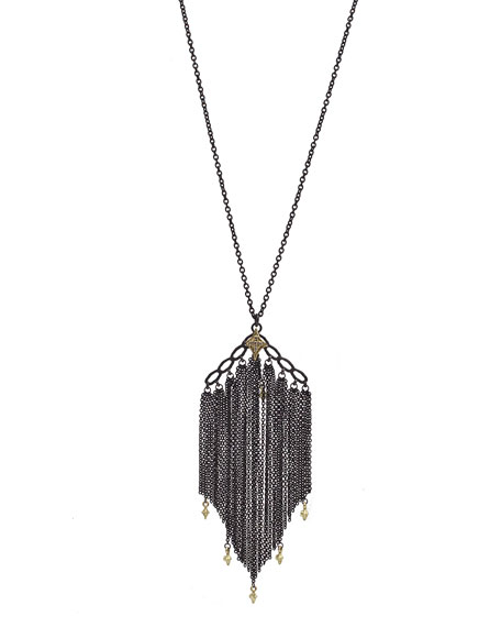 Armenta Old World Chain Tassel Necklace with Champagne