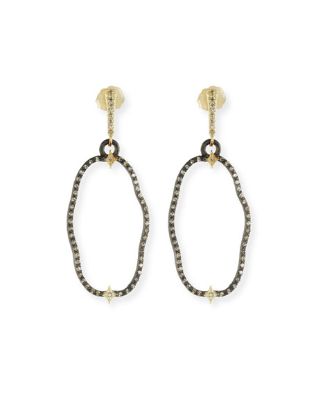 Old World Open Oval Drop Earrings with Diamonds