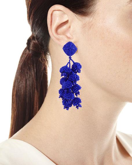 Grapes Beaded Clip Earrings