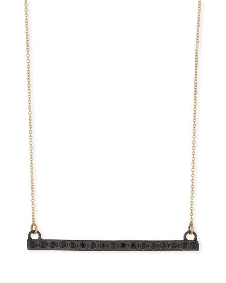 Old World Midnight Black Sapphire Bar Pendant Necklace