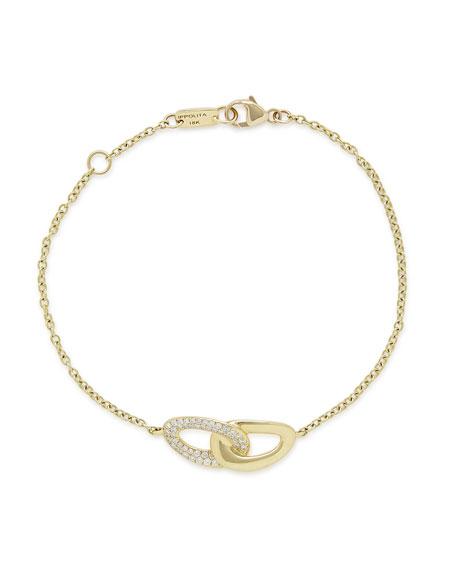 18K Gold Cherish Link Bracelet with Diamonds