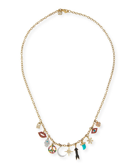 Multi Charm Necklace with Diamonds