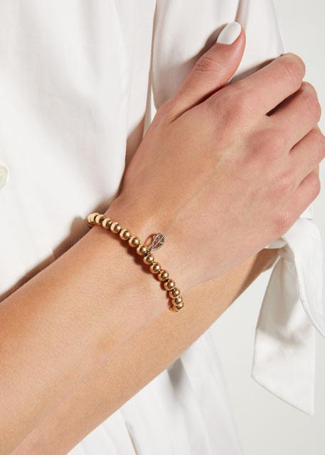 6mm Golden Beaded Bracelet with Diamond Teardrop Peace Charm
