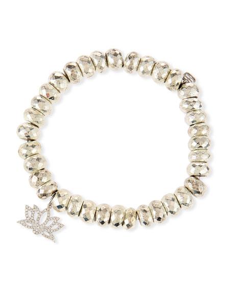 Sydney Evan Pyrite Bead Bracelet with Diamond Lotus Charm pt530qA6