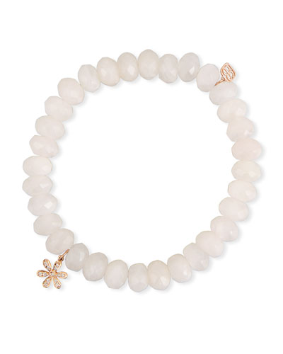 8mm Rose Quartz Beaded Bracelet with Diamond Flower Charm