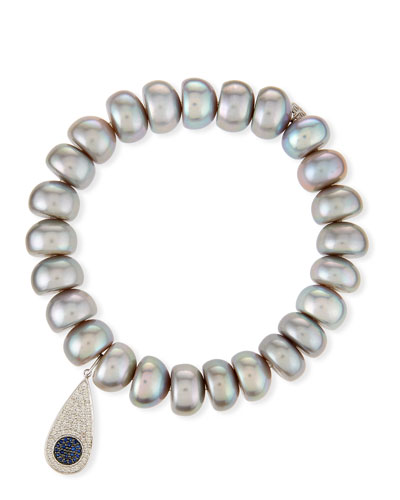 10mm Pearl Bracelet with Teardrop Eye Charm