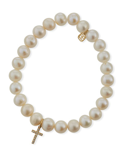 Beaded Pearl & Diamond Cross Bracelet