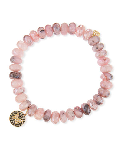 8mm Mystic Pink Graptolite Bead Bracelet with Butterfly Charm