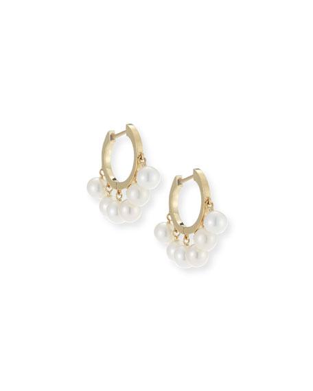 Pearl Tassel Huggie Hoop Earrings