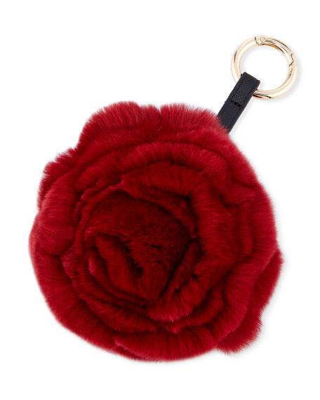 Spiral Rabbit Fur Rosette Pompom Bag Charm