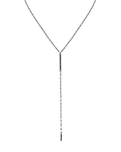 Reckless 14K Black Gold Lariat Necklace with Black Diamonds