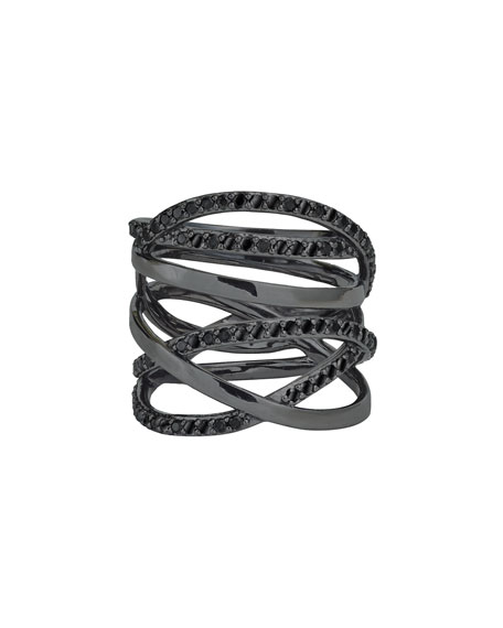 Reckless 14K Black Gold Multi-Row Band Ring with Black Diamonds, Size 7