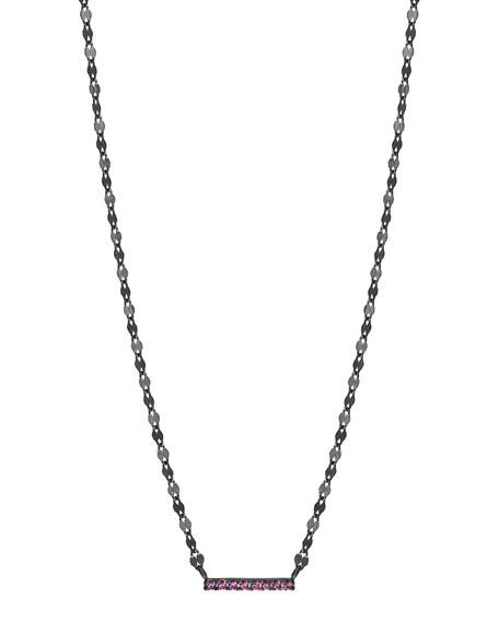 Electric Pink Sapphire Mini Bar Pendant Necklace