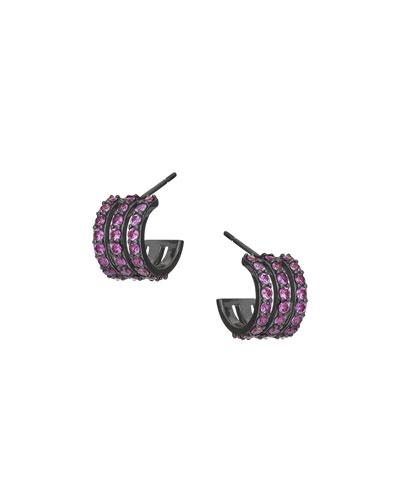 Electric 14K Black Gold Triple-Huggie Hoop Earrings with Pink Sapphire