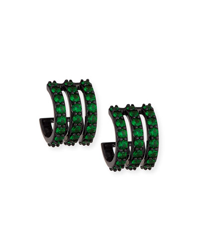 Electric 14K Black Gold Huggie Earrings with Green Tsavorite
