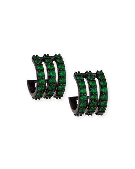 Electric 14K Black Gold Huggie Earrings with Green Tsavorite