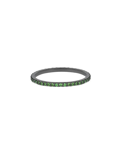 Electric 14K Black Gold Stacking Ring with Green Tsavorite, Size 7