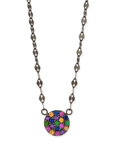 14k Electric Circle Pendant Necklace w/ Sapphires