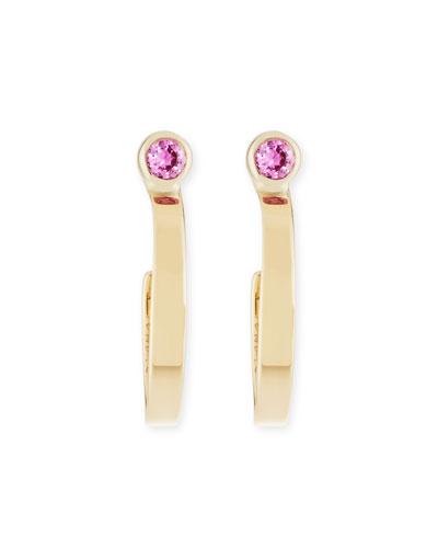 Girls' Pink Sapphire Hoop Earrings