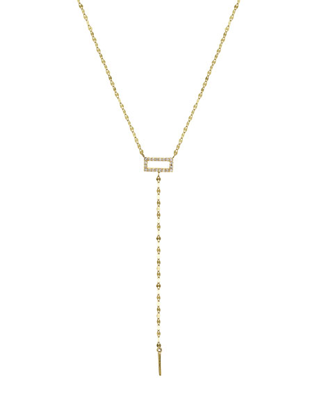 LANA Mini Diamond Rectangle Lariat Necklace