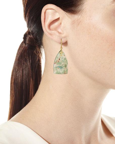 Old World Aquaprase Slice Earrings with Diamonds