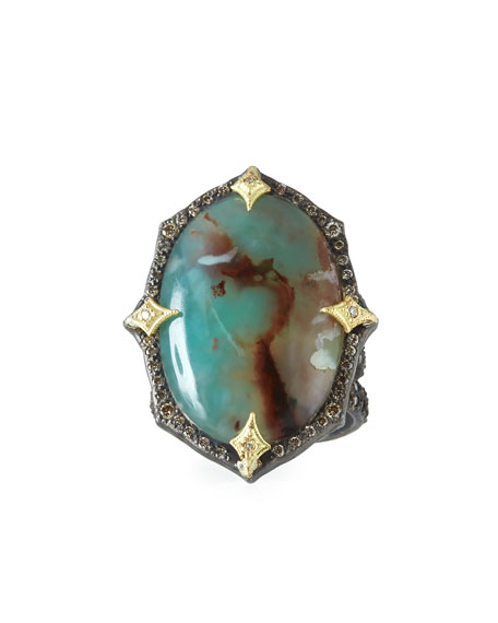 Old World Aquaprase Oval Cabochon Ring with Diamonds