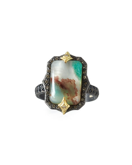 Old World Aquaprase Emerald-Shaped Cabochon Ring with Diamonds, Size 6.5