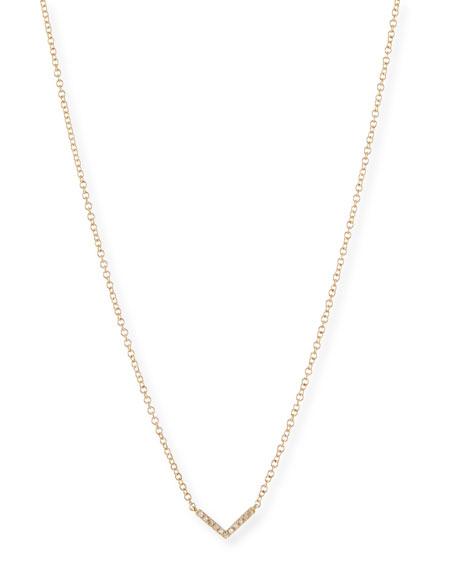 EF COLLECTION Mini Chevron Diamond Pendant Necklace in White Gold
