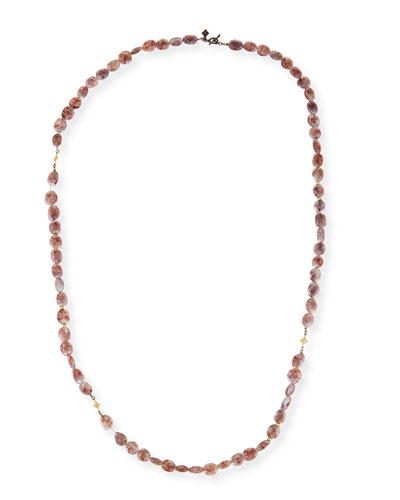 Old World Crivelli Rose Silverite Beaded Necklace, 36