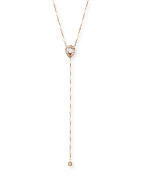 Diamond & White Topaz Teardrop Lariat Necklace