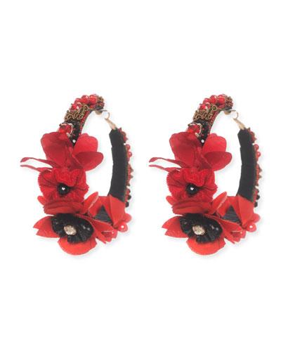 Floral-Embellished Hoop Earrings