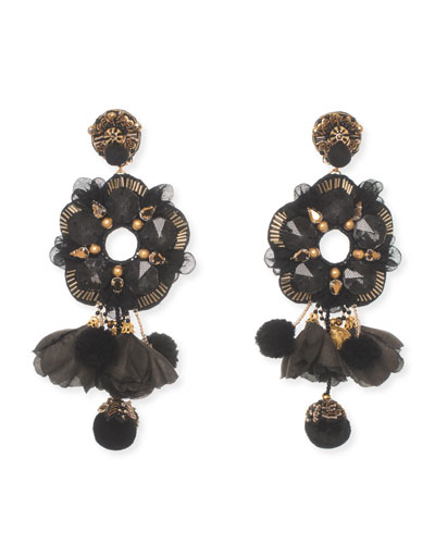Galena Beaded Statement Clip-On Earrings