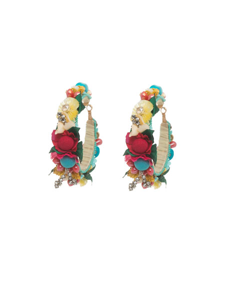 Beaded Flower Hoop Earrings