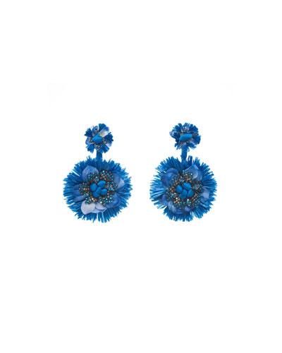 Raffia Beaded Fan Clip-On Earrings