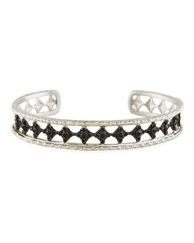 New World Blackened Eternity Crivelli Cuff Bracelet with Black Spinel