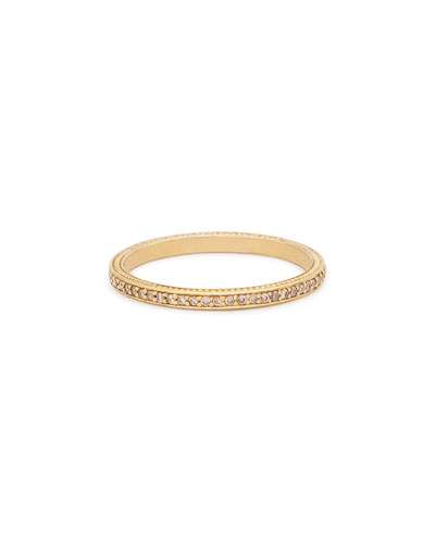 Thin Pave Cognac Diamond Band Ring
