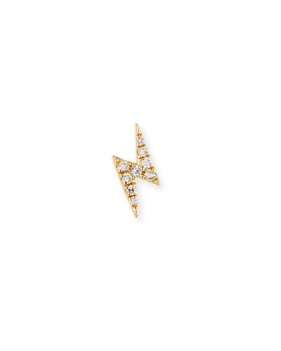 Mini Diamond Lightning Bolt Single Stud Earring