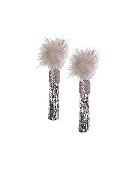 Mini Jackie Mink Fur Statement Earrings