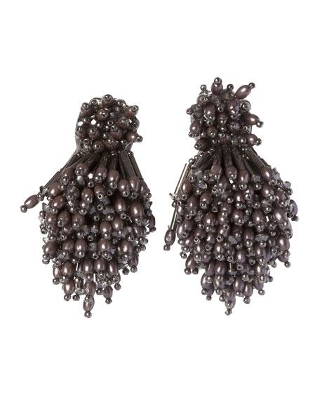 Mignonne Gavigan Burst Beaded Statement Earrings, Gray