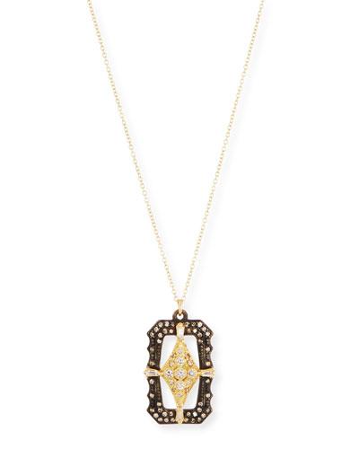 Old World Scalloped Rectangular Pendant Necklace with Diamonds