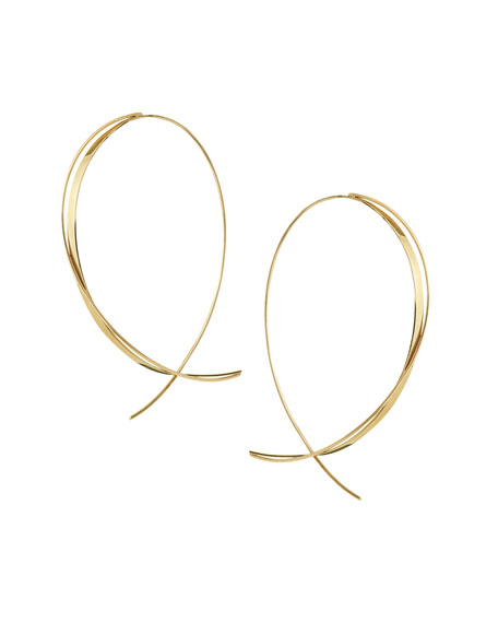 Fifteen 14K Upside Down Twist Hoop Earrings