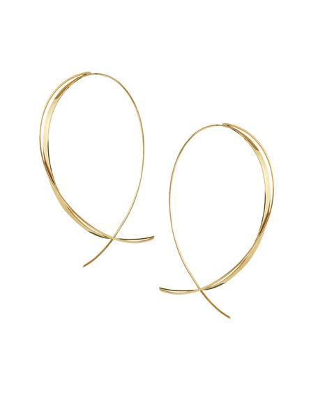 Fifteen 14K Upside Down Twist Hoop Earrings
