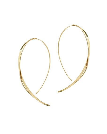 Fifteen 14K Gold Small Upside Down Twist Hooked On Hoop Earrings