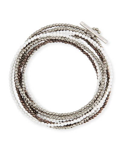 Hematite & Quartz Beaded Coil Bracelet, White