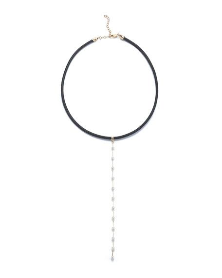 Mizuki Leather Collar Necklace with Pearl Chain