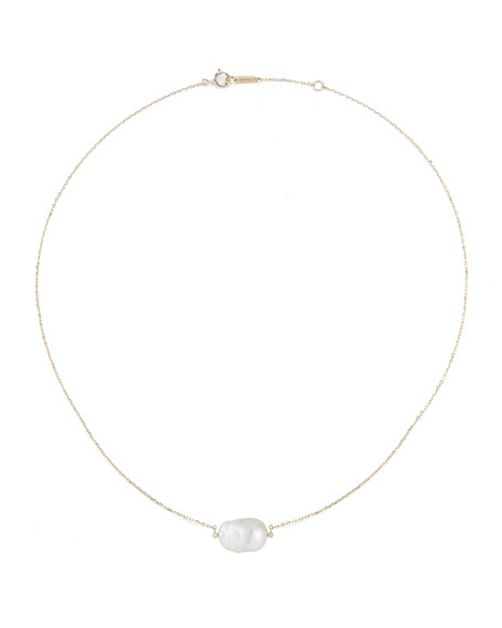 Baroque Pearl & Diamond Bezel Necklace