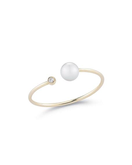 Open Pearl & Diamond Bezel Ring