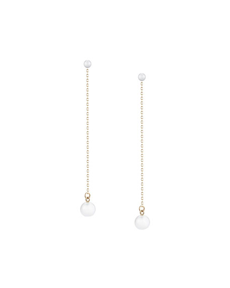Mizuki Double-Pearl Chain Drop Earrings