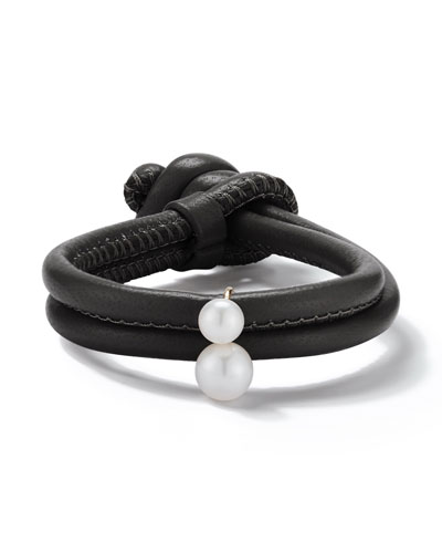 Sea of Beauty Black Leather Wrap Bracelet with Pearls