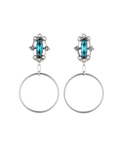 Adelaide Blue Zircon Hoop Earrings